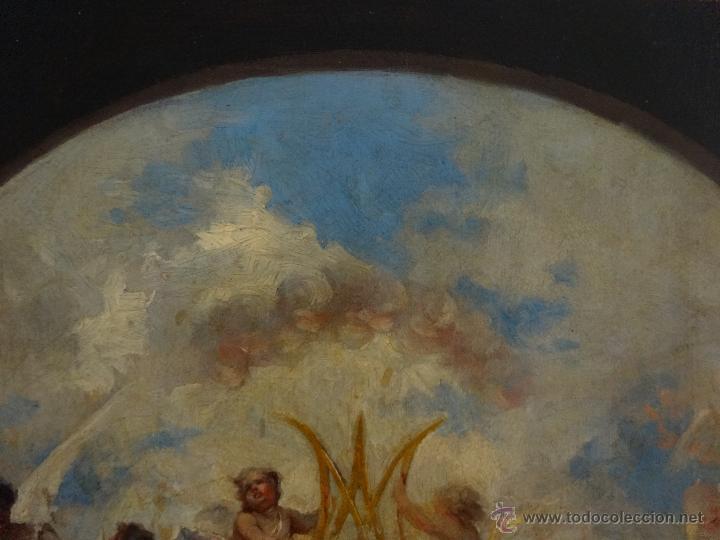 Arte: ÓLEO SOBRE PAPEL ADHERIDO A TABLA WSSEL ALEGORÍA A LA VIRGEN SIGLO XIX- XX - 1000-014 - Foto 7 - 43425175