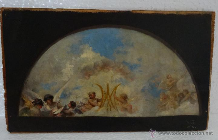Arte: ÓLEO SOBRE PAPEL ADHERIDO A TABLA WSSEL ALEGORÍA A LA VIRGEN SIGLO XIX- XX - 1000-014 - Foto 9 - 43425175