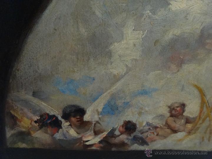 Arte: ÓLEO SOBRE PAPEL ADHERIDO A TABLA WSSEL ALEGORÍA A LA VIRGEN SIGLO XIX- XX - 1000-014 - Foto 10 - 43425175