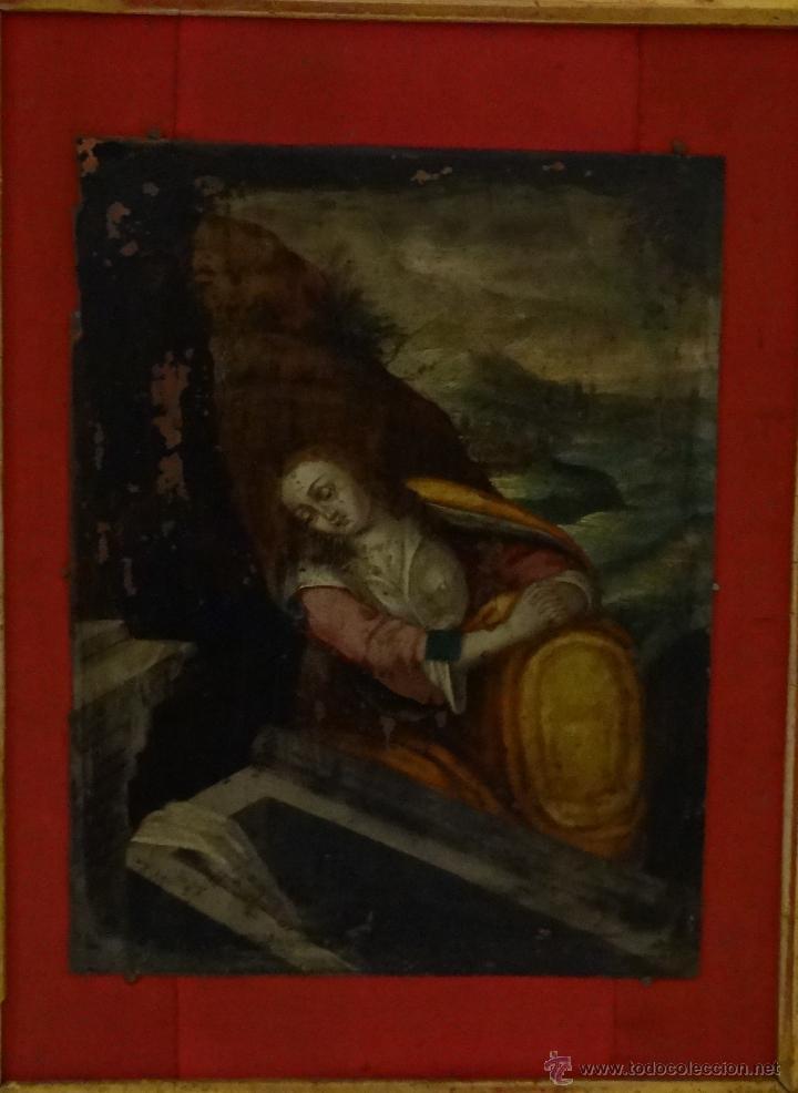 Arte: ÓLEO SOBRE COBRE Mª MAGDALENA EN EL SEPULCRO SIGLO XVI - 1000-024 - Foto 7 - 43107522