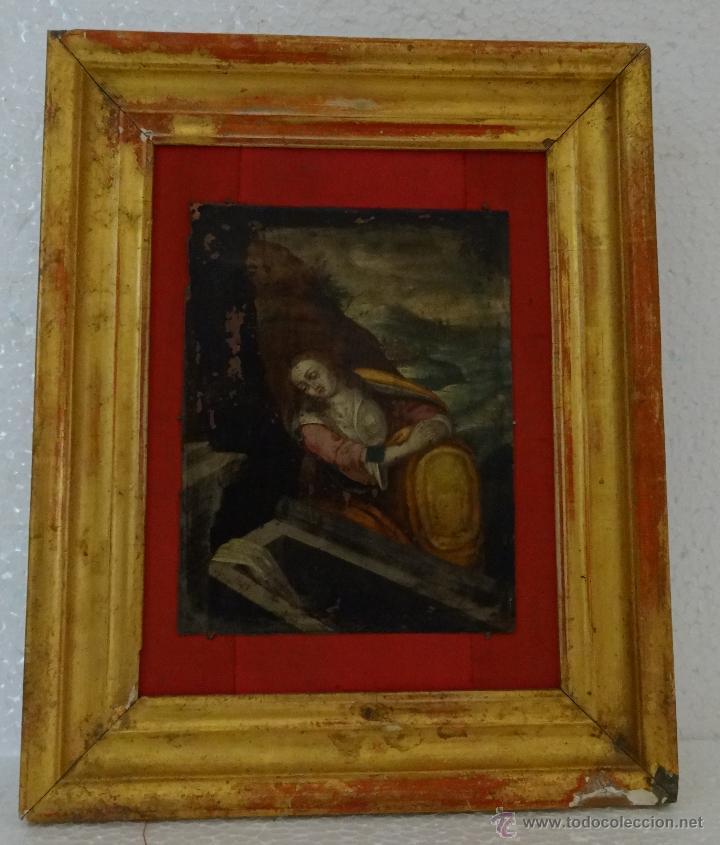 Arte: ÓLEO SOBRE COBRE Mª MAGDALENA EN EL SEPULCRO SIGLO XVI - 1000-024 - Foto 8 - 43107522