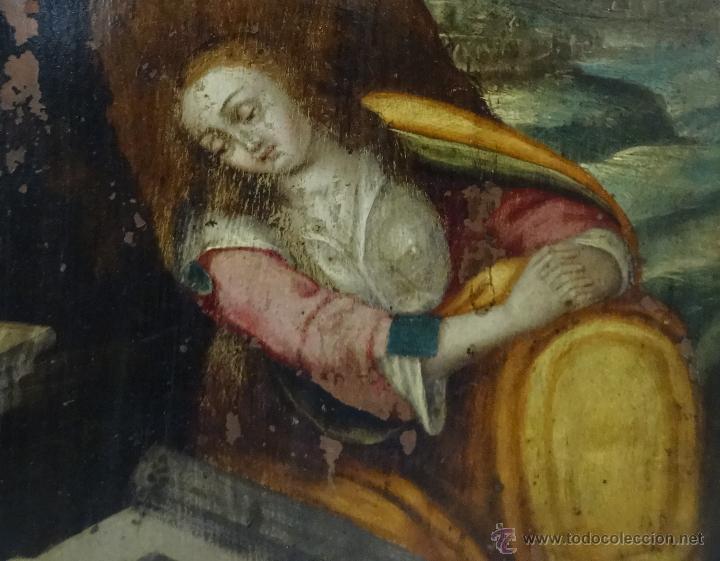 Arte: ÓLEO SOBRE COBRE Mª MAGDALENA EN EL SEPULCRO SIGLO XVI - 1000-024 - Foto 13 - 43107522