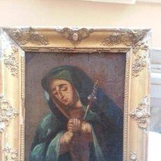 Arte: MAGNFICA PINTURA S XVIII VIRGEN DOLOROSA SOBRE TABLA CON SOBERVIO MACO PAN DE ORO. Lote 45470311