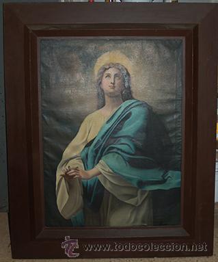 ARTE PINTURA 70.5X96 MODERNISTA SANTA IMMACULADA CON MARCO 107X134X5 DEFECTO:TROCITO PINTURA DESGAR (Arte - Arte Religioso - Pintura Religiosa - Otros)
