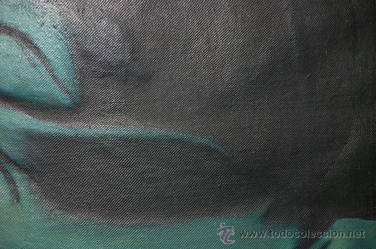 Arte: Arte Pintura 70.5x96 modernista Santa Immaculada con marco 107x134x5 Defecto:Trocito pintura desgar - Foto 3 - 45471709