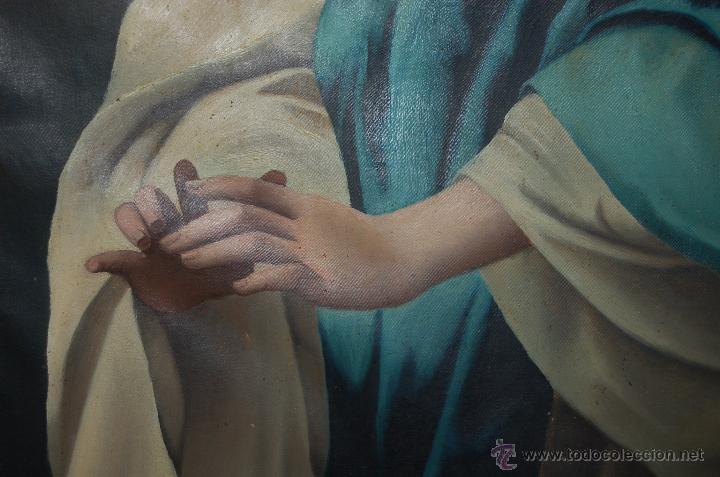 Arte: Arte Pintura 70.5x96 modernista Santa Immaculada con marco 107x134x5 Defecto:Trocito pintura desgar - Foto 5 - 45471709