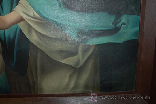 Arte: Arte Pintura 70.5x96 modernista Santa Immaculada con marco 107x134x5 Defecto:Trocito pintura desgar - Foto 7 - 45471709