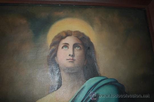 Arte: Arte Pintura 70.5x96 modernista Santa Immaculada con marco 107x134x5 Defecto:Trocito pintura desgar - Foto 8 - 45471709