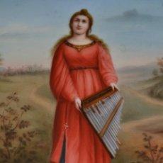 Arte: SANTA CECILIA,PATRONA DE LA MUSICA,EXCEPCIONAL PINTURA EN PORCELANA ESMALTADA,S. XIX. Lote 186350997