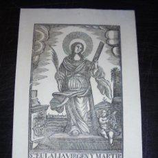 Arte: ANTIGUO GRABADO PRINCIPIO S. XIX STA.EULALIA VIRGEN Y MARTIR - MANRESA POR PABLO ROCA - 32X22 CM. . Lote 45527508