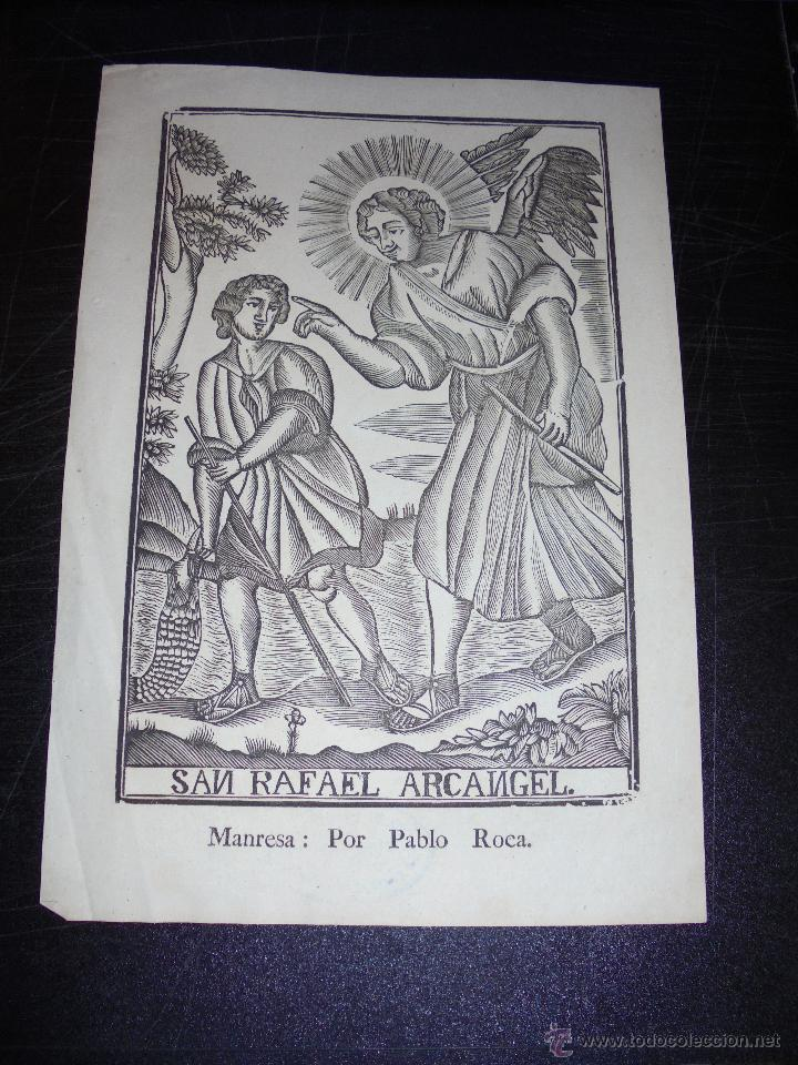 ANTIGUO GRABADO PRINCIPIO S. XIX SAN RAFAEL ARCANGEL MANRESA POR PABLO ROCA - 32X22 CM. (Arte - Arte Religioso - Grabados)