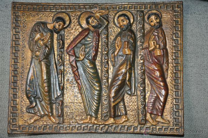 PLACA DE TERRACOTA CON ESCENA DE 4 APOSTOLES EN RELIEVE (Arte - Arte Religioso - Iconos)