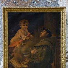Arte: ANTIGUO MARCO DE MADERA Y ESTUCO DE GRAN TAMAÑO CON LITOGRAFÍA ANTIGUA DE SAN ANTONIO Y ANGEL. Lote 45543648