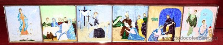 CONJUNTO DE 6 ESMALTES DE TEMA RELIGIOSO ENMARCADOS CON MARCO DE PLATA. CIRCA 1920. 14 CM X 73,5 CM (Arte - Arte Religioso - Pintura Religiosa - Otros)