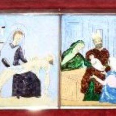 Arte: CONJUNTO DE 6 ESMALTES DE TEMA RELIGIOSO ENMARCADOS CON MARCO DE PLATA. CIRCA 1920. 14 CM X 73,5 CM. Lote 45623168