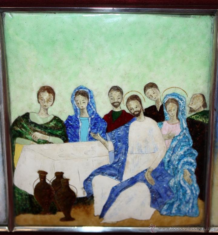Arte: CONJUNTO DE 6 ESMALTES DE TEMA RELIGIOSO ENMARCADOS CON MARCO DE PLATA. CIRCA 1920. 14 CM X 73,5 CM - Foto 8 - 45623168