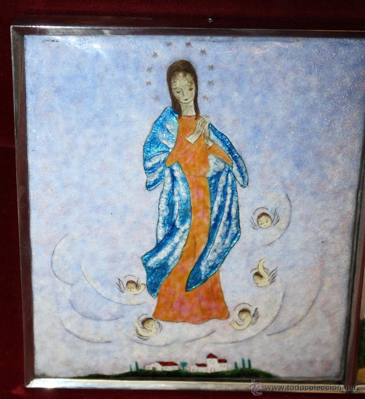 Arte: CONJUNTO DE 6 ESMALTES DE TEMA RELIGIOSO ENMARCADOS CON MARCO DE PLATA. CIRCA 1920. 14 CM X 73,5 CM - Foto 10 - 45623168