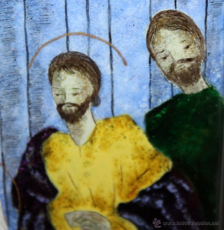 Arte: CONJUNTO DE 6 ESMALTES DE TEMA RELIGIOSO ENMARCADOS CON MARCO DE PLATA. CIRCA 1920. 14 CM X 73,5 CM - Foto 11 - 45623168