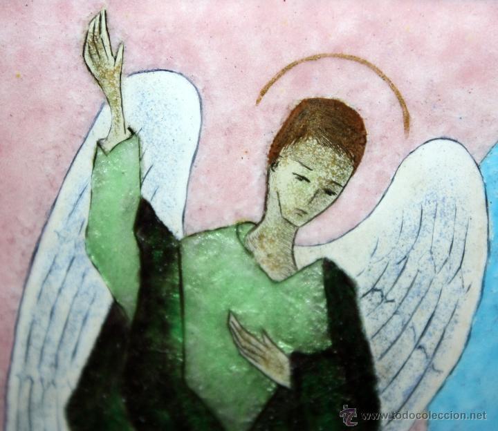 Arte: CONJUNTO DE 6 ESMALTES DE TEMA RELIGIOSO ENMARCADOS CON MARCO DE PLATA. CIRCA 1920. 14 CM X 73,5 CM - Foto 13 - 45623168