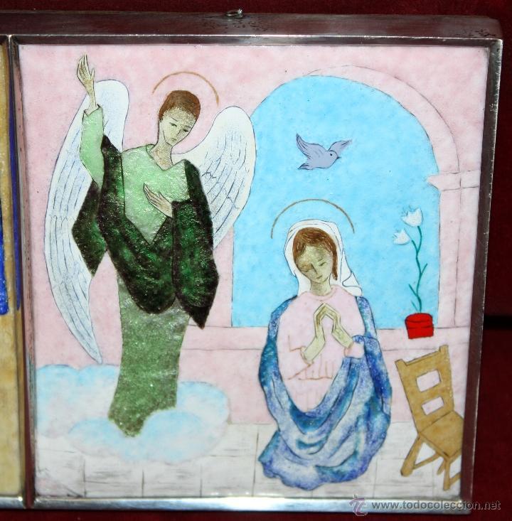 Arte: CONJUNTO DE 6 ESMALTES DE TEMA RELIGIOSO ENMARCADOS CON MARCO DE PLATA. CIRCA 1920. 14 CM X 73,5 CM - Foto 14 - 45623168