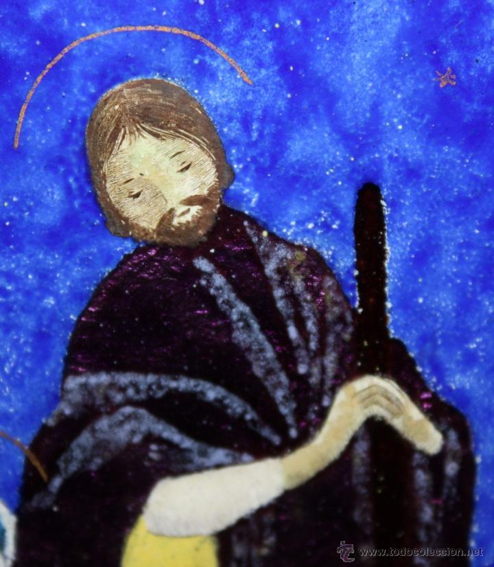 Arte: CONJUNTO DE 6 ESMALTES DE TEMA RELIGIOSO ENMARCADOS CON MARCO DE PLATA. CIRCA 1920. 14 CM X 73,5 CM - Foto 16 - 45623168