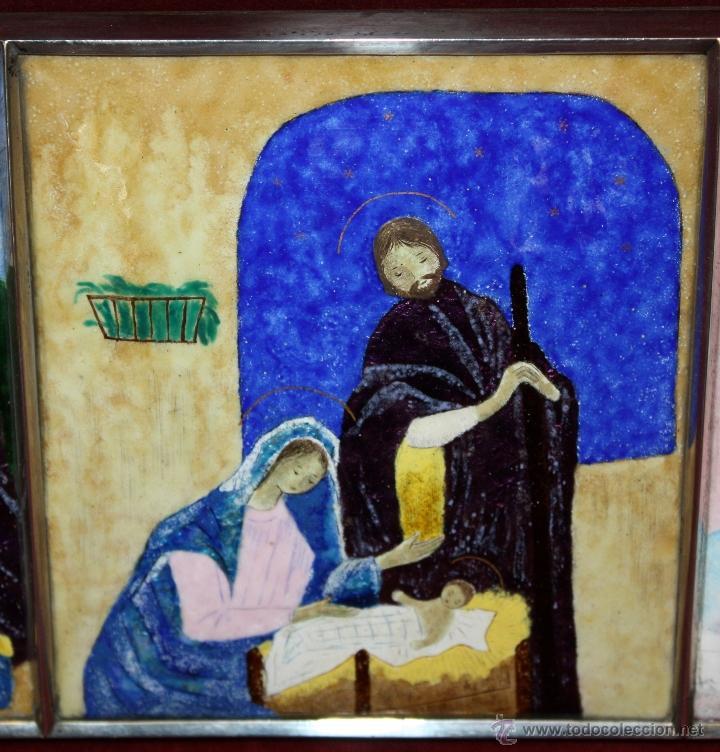 Arte: CONJUNTO DE 6 ESMALTES DE TEMA RELIGIOSO ENMARCADOS CON MARCO DE PLATA. CIRCA 1920. 14 CM X 73,5 CM - Foto 18 - 45623168