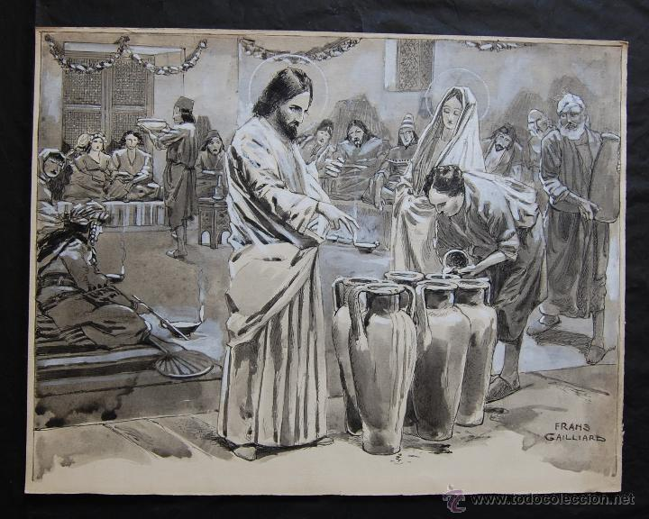 BODAS DE CANÁ: FRANZ GAILLIARD (BÉLGICA, 1861-1932) (Arte - Arte Religioso - Pintura Religiosa - Otros)