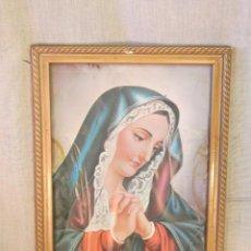 Arte: VIRGEN EN MARCO DE MADERA Y LAMINA ANTIGUA. Lote 45993783