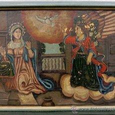 Arte: PINTURA ANUNCIACIÓN, VIRGEN, ARCÁNGEL Y ESPÍRITU SANTO OLEO SOBRE TELA S.XIX. Lote 46121745