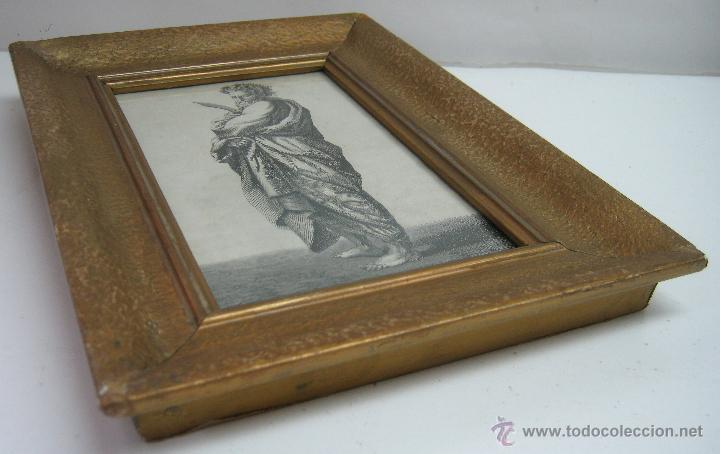 Arte: Precioso cuadro antiguo grabado litografico San Bartolome V. Barneto marco madera dorada - Foto 2 - 46135746