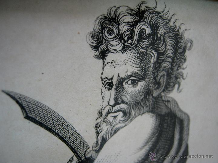 Arte: Precioso cuadro antiguo grabado litografico San Bartolome V. Barneto marco madera dorada - Foto 3 - 46135746