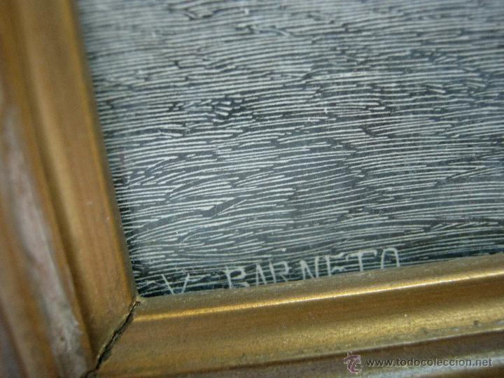 Arte: Precioso cuadro antiguo grabado litografico San Bartolome V. Barneto marco madera dorada - Foto 4 - 46135746