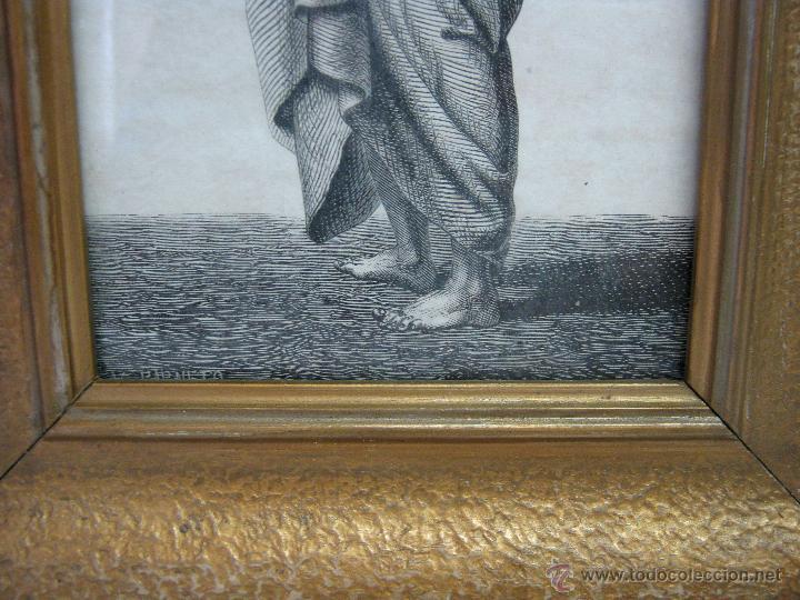 Arte: Precioso cuadro antiguo grabado litografico San Bartolome V. Barneto marco madera dorada - Foto 5 - 46135746