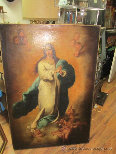 ANTIGUO ÓLEO SOBRE LIENZO - INMACULADA - PARTE POSTERIOR SEVILLA. 85 X 127 CMS. SIN FIRMA. (Arte - Arte Religioso - Pintura Religiosa - Oleo)