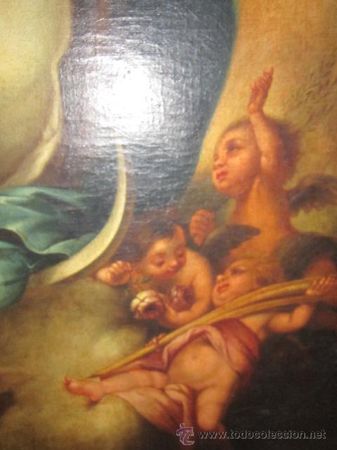 Arte: Antiguo óleo sobre lienzo - Inmaculada - Parte posterior Sevilla. 85 x 127 cms. Sin firma. - Foto 5 - 46141803