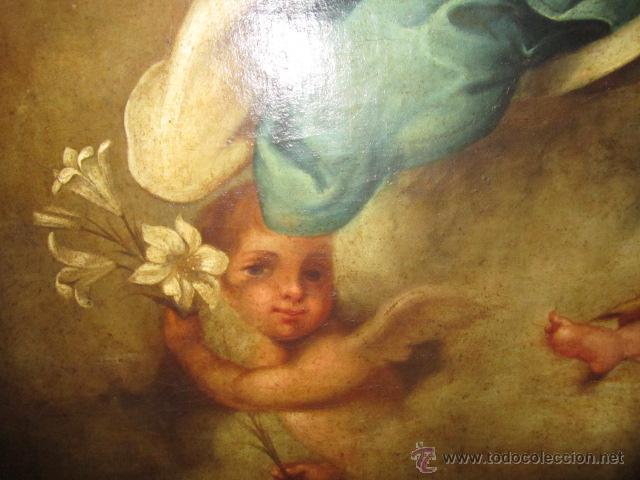 Arte: Antiguo óleo sobre lienzo - Inmaculada - Parte posterior Sevilla. 85 x 127 cms. Sin firma. - Foto 7 - 46141803