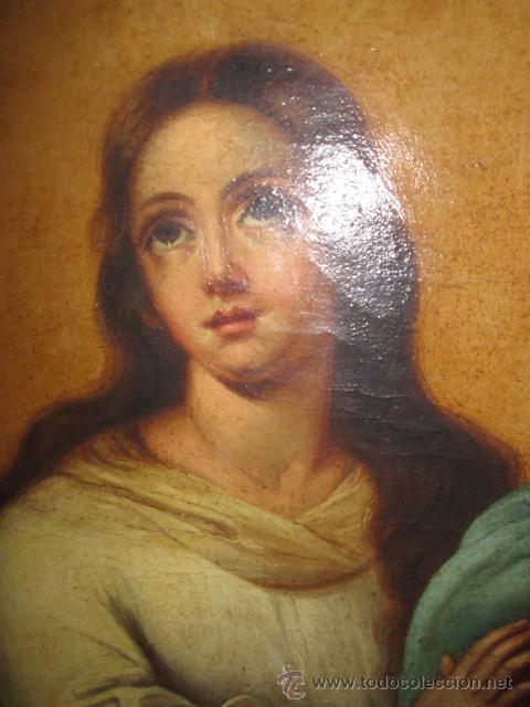 Arte: Antiguo óleo sobre lienzo - Inmaculada - Parte posterior Sevilla. 85 x 127 cms. Sin firma. - Foto 8 - 46141803