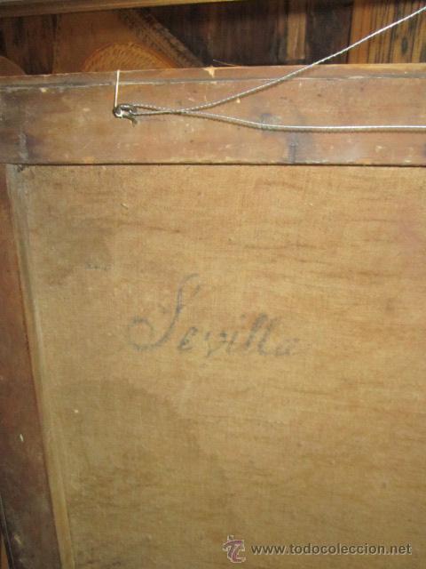 Arte: Antiguo óleo sobre lienzo - Inmaculada - Parte posterior Sevilla. 85 x 127 cms. Sin firma. - Foto 11 - 46141803