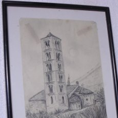 Arte: BONITO DIBUJO A TINTA, IGLESIA ROMANICA, TAHÜLL, (LÉRIDA) FIRMADA WAGNER.. Lote 46179230