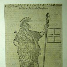 Arte: GRABADO-CABALLEROS DE SAN BLAS-1642- RECORTADO DEL LIBRO TESORO MILITAR DE CAVALLERIA. Lote 46179587