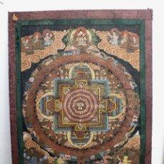 Arte: GRAN PINTURA RELIGIOSA AL OLEO SOBRE TELA ESCENAS BUDA Y SHIVA AÑOS 50 ORIGINAL DE NEPAL . Lote 46213790