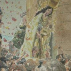 Arte: ACUARELA TRASLADO DE LA VIRGEN DE LOS DESAMPARADOS DE VALENCIA. Lote 46295823
