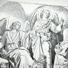 Arte: ANTIGUO GRABADO ALEMÁN. SIGLO XIX. FIRMADO - AG. LUCAS XXIV,5 - BÍBLICO. ARTE RELIGIOSO. Lote 46334534