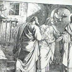 Arte: ANTIGUO GRABADO ALEMÁN. SIGLO XIX. FIRMADO - AG. LUCAS XXIV, 29. ORIGEN BÍBLICO. ARTE RELIGIOSO. Lote 46334684