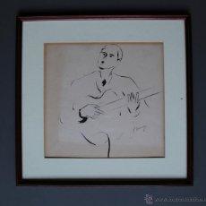 Arte: FRANCESC DOMINGO. CANTANT AMB GUITARRA. 31X29,5CM. LÁPZ Y TINTA SOBRE PAEL. ENMARCADO. . Lote 46366720