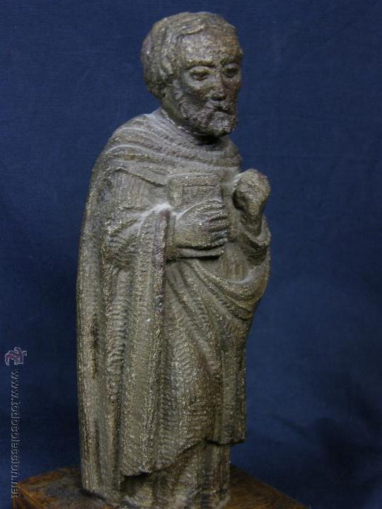 Arte: escultura santo evangelista cemento o similar moldeado inciso barnizado 2ª mitad s XX 20x8x7cms - Foto 9 - 46405965