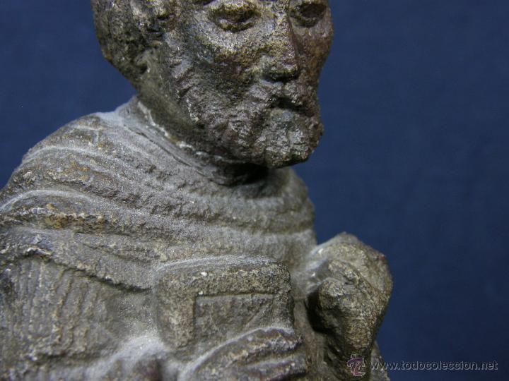 Arte: escultura santo evangelista cemento o similar moldeado inciso barnizado 2ª mitad s XX 20x8x7cms - Foto 11 - 46405965