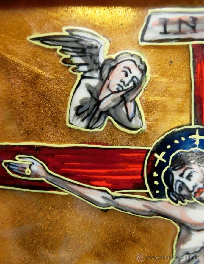 Arte: ANTIGUO ESMALTE CON MOTIVO BÍBLICO. REALIZADO AL FUEGO. FRANCÉS. PPIO S XX. TEMÁ RELIGIOSO. - Foto 18 - 46426995