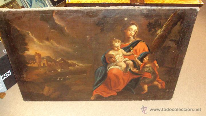 OLEO SOBRE LIENZO DEL SIGLO XVIII VIRGEN NIÑO Y SAN JUANITO - MARQUÉS DE ALMUNIA (Arte - Arte Religioso - Pintura Religiosa - Oleo)