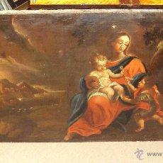 Arte: OLEO SOBRE LIENZO DEL SIGLO XVIII VIRGEN NIÑO Y SAN JUANITO - MARQUÉS DE ALMUNIA. Lote 46527392